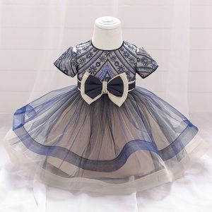 Princess embroidered sparkly pearls bow dress